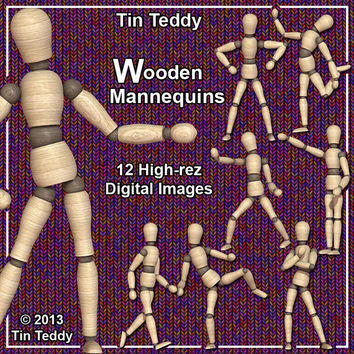 Wooden Mannequin 12 High Rez Printable Digital Clip Art Images of a Wood Artists Figure Dummy For Your Crafting Projects
