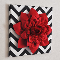 """MOTHERS DAY SALE Red Wall Flower -Red Dahlia on Black and White Chevron 12 x12"""" Canvas Wall Art- Baby Nursery Wall Decor-"""