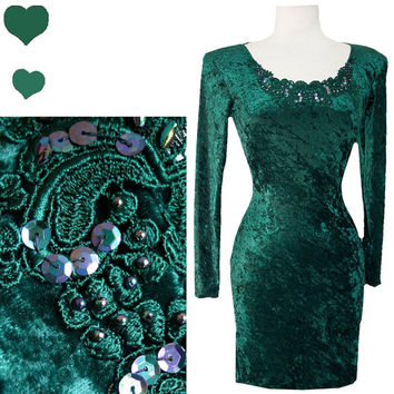 Dress Vintage 80s 90s Green VELVETEEN Grunge Cocktail PARTY Dress XS S Sequin Body Con