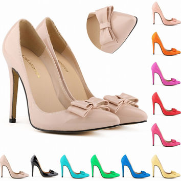 2015 New Plus size 32-42 fashion woman small bowtie platform shoes bowtie pumps,ladys sexy high heeled 11cm shoes for women