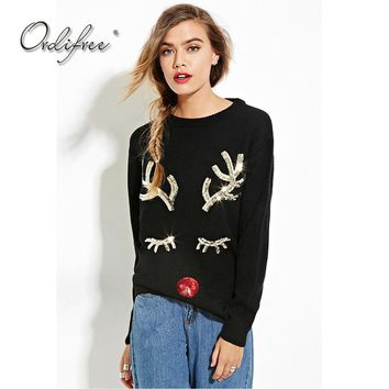 Ordifree 2017 Autumn Sequin Knitted Sweater Pullover Knitwear Black Deer Ugly Christmas Sweater Women Jumper Pull Femme