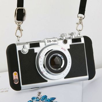 3D Retro Camera Phone Case Cover With Strap For Apple iPhone 7 6 6s Plus 5 5s SE