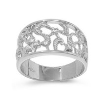 Sterling Silver Clear Cubic Zirconia Abstract Textured Design CZ Ring
