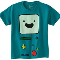 Adventure Time Big Boys' Beemo Face Tee, Turquoise, X-Large