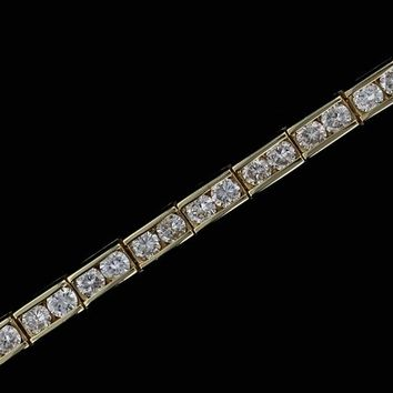 14k Yellow Gold Estate 4cttw Channel Set Diamond Tennis Bracelet