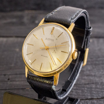 Vintage Boctok, Wostok mens watch, gold plated russian watch, cccp ussr, vintage russian watch