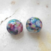 Lampwork Beads, Large Round Mosaic Glass Beads, Handmade Supplies, Lampwork Jewelry Supplies