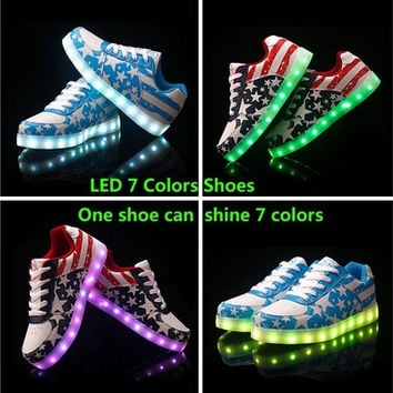 7 Colors LED luminous shoes USB charging light shoes unisex sneakers men & women sneakers shoes [8096621895]
