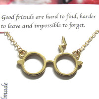 Gold Thunderbolt Glasses Necklace,Best Friend Necklace |A5| Friendship Necklace, Glasses Necklace, Wizard Glasses Necklace, Best Friend Gift