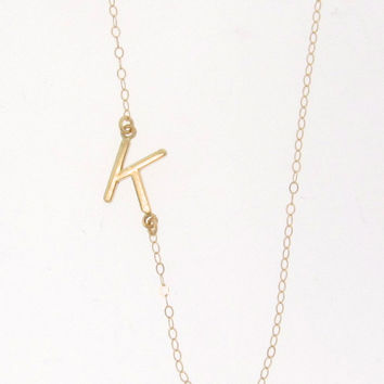 Sideways Initial Necklace - 14K SOLID GOLD, Your  Initial, Asymmetrical Necklace As Seen on Audrina Patridge