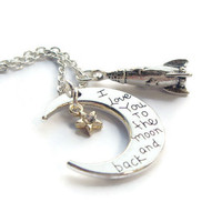 Moon Crescent Necklace ~ I Love You, To The Moon And Back, Best Friend Token, Friendship Jewelry, Daughter Birthday Gift, Bon Voyage Gifts
