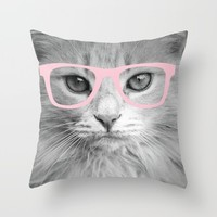Hippest Cat 2 - Pink glasses Throw Pillow by Allyson Johnson | Society6