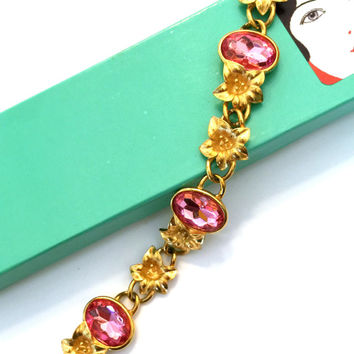 Trifari Bracelet by Kunio Matsumoto,  Rose Pink Faceted Stones, Heavily Plated Gold Tone Flowers, 1970s, Book Piece