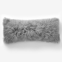 "Mongolian Lamb Pillow Cover– Platinum (14""x36"")"