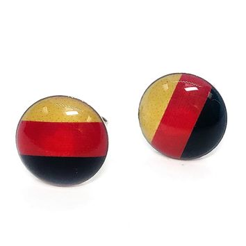 ON SALE - German Flag Enamel Button Stud Earrings