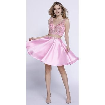 Pink Beaded Crop Top Two-Piece Homecoming Short Dress V-Neck