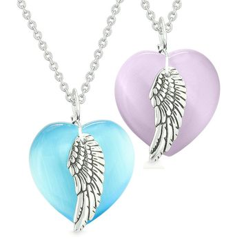 Amulets Angel Wing Hearts Love Couples or Best Friends Purple Sky Blue Simulated Cats Eye Necklaces