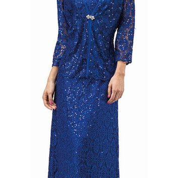 CLEARANCE - Long Sleeveless Lace Dress Royal Blue Sequin Accents Matching Jacket (Size 3XL)