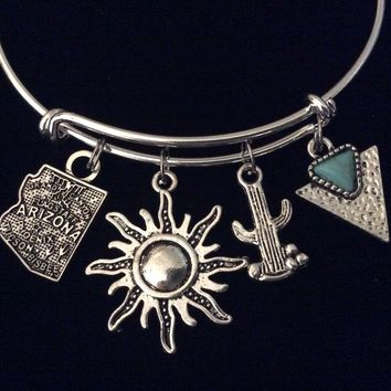 Sunny Arizona Cactus Turquoise Jewelry Adjustable Silver Charm Bracelet Expandable Wire Bangle One Size Fits All Gift Trendy