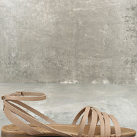 Zoila Natural Ankle Strap Flat Sandals
