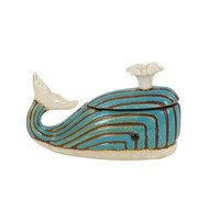 Blue Finish Rustic Ceramic Whale Jar
