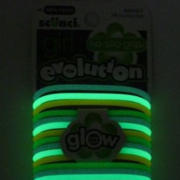 Scunci Girl Evolution No Slip Grip Glow in the Dark Gel Ponytail Holders - 14 Pk.