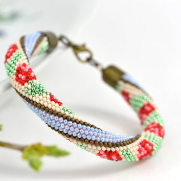 """Bead Crochet Bracelet """"Flower"""" White  Pink  Blue  Red  Brown  Pastel  Multi-Colored  Colorful  Minimalist Super Gift Beadwork Jewelry"""