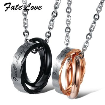 Fate Love Double Cross Pendant Stainless Steel Necklace Hot Sale Couple Necklace For Wedding Romantic Valentine's Day Gift FL860