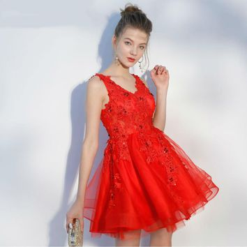 Short Prom Dresses Sexy V Neck Sleeveless A Line Evening Dress Red Tulle Appliques Beading Party Gowns