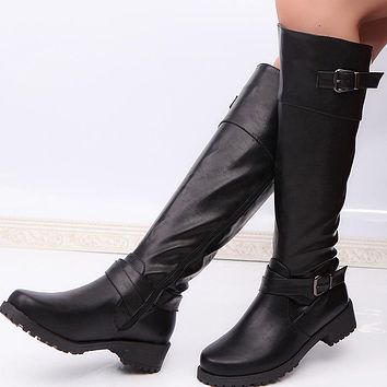 Fashionable long-barreled Knight boots with thick heels and large belt buckle boots Black
