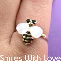 Adjustabe Bumble Bee Ring in Gold with Pearl Like Wings | smileswithlove - Jewelry on ArtFire