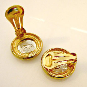 Caeser Head Coin Earrings clip on earrings