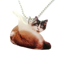 Realistic Snowshoe Kitty Cat Shaped Pendant Necklace | Handmade | Animals in Awkward Poses