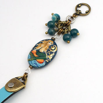 Blue ceramic mermaid bracelet, mixed metal brass silver, apatite beads and leather, 7 1/4 inches
