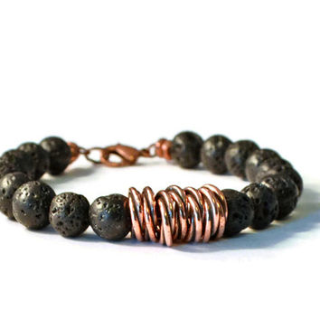 Lava Rock and Antique Copper Aromatherapy Bracelet, Essential Oil Diffuser Jewelry