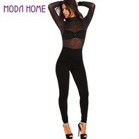 Sexy Women Jumpsuit Solidcolor Mesh Hollow Out Backless Rompers Turtle Neck Long Sleeve Night Club Party Bodysuit Playsuit