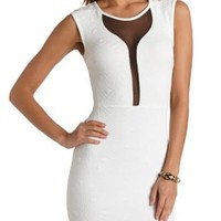 Geo-Quilted Mesh Cut-Out Dress by Charlotte Russe - White