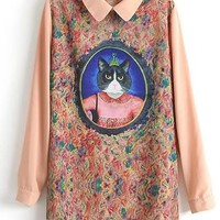Vintage 2014 Pink Long Sleeve Cat Queen Print Straight Dress