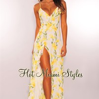 White Yellow Floral Ruffle Slit Lace Up Maxi Dress