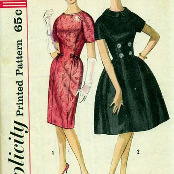 1950s Vintage Sewing Pattern Wiggle Dress Full Skirt Fitted Bodice Short Sleeve High Neck Simplicity 4226 Uncut Bust 36 Betty Draper 60s