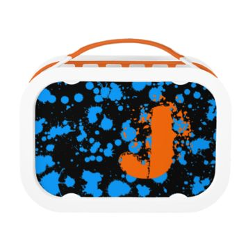 Monogrammed Black and Blue 90s Splatter Paint Art Yubo Lunch Box