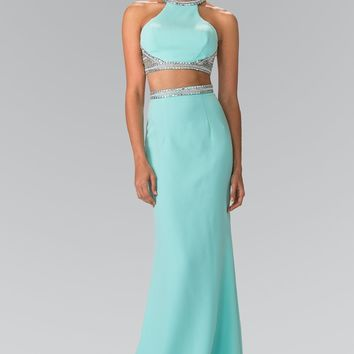 High neck Long 2 piece prom dress  gl2256