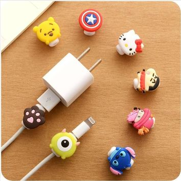 100pcs/lot Cartoon Cable Protector Data Line Cord Protector Protective Case Cable Winder Cover For iPhone USB Charging Cable