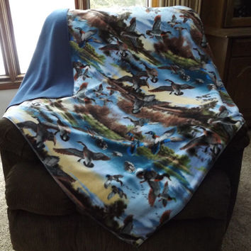 Geese and Duck Print Double Layer Fleece Blanket or Throw, 2 Layer, Lap Blanket, Stadium Blanket