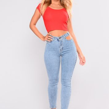 Holdin Me Back Cut Out Jeans - Light Blue