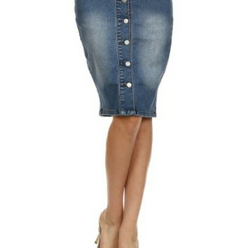 Medium Denim Pencil Skirt