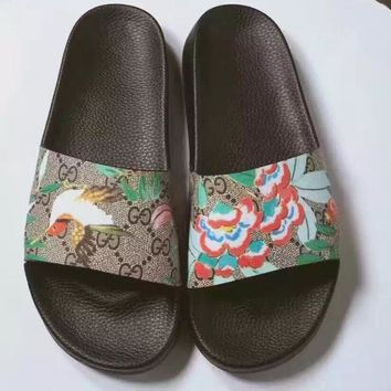 2017 New Flower print Gucci Casual Fashion Women Sandal Slipper Shoes