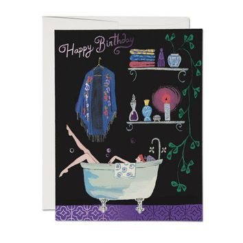 RED CAP CARDS BATHTUB BUBBLES CARD
