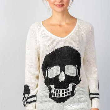Ladies fashion contrast skull printed pullover sweater-id.35597a