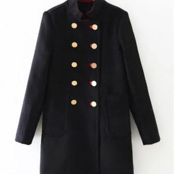 Military Uniform Wool Blend Long Jacket